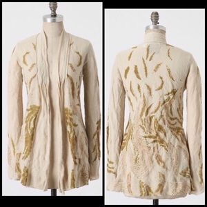 Anthro Guinevere Gold Feather Cardigan Sweater